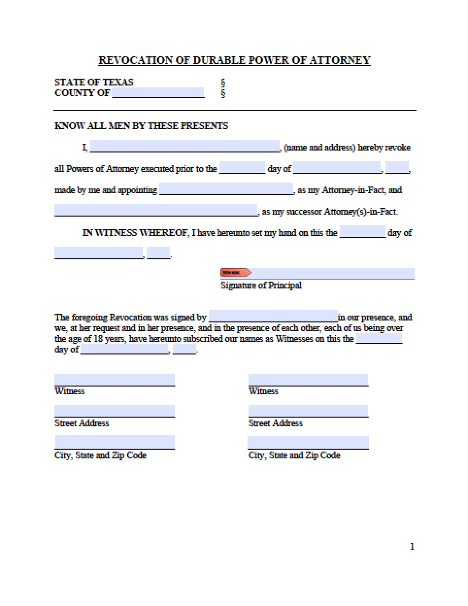 Power Of Attorney Form Texas Medical