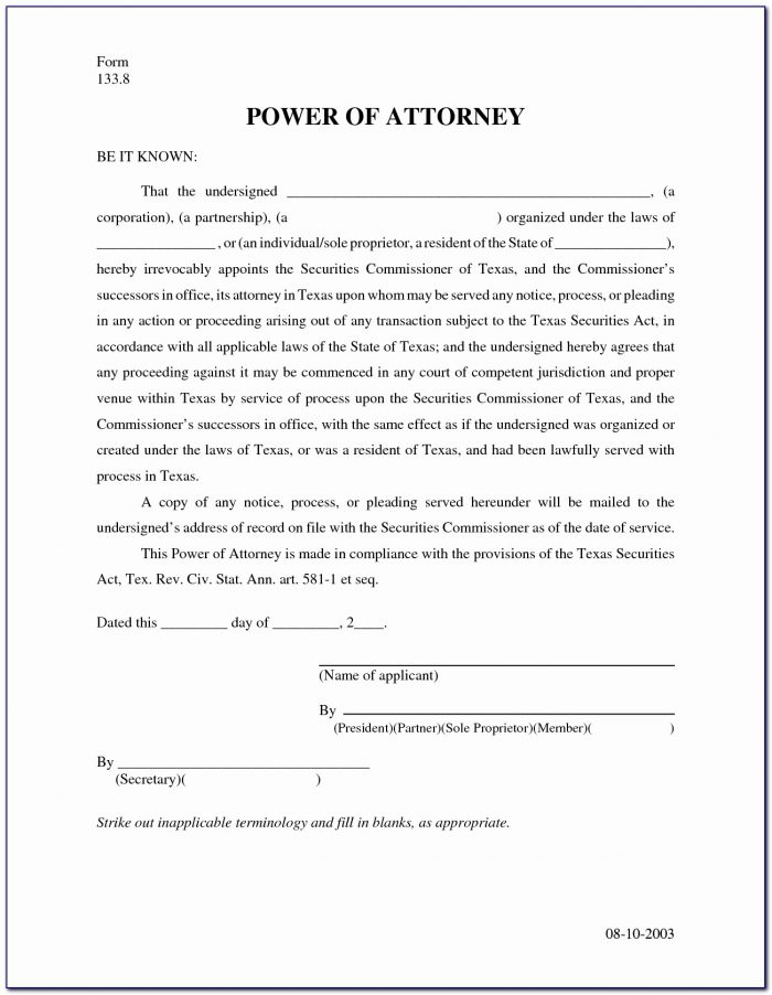 Power Of Attorney Form Texas Printable