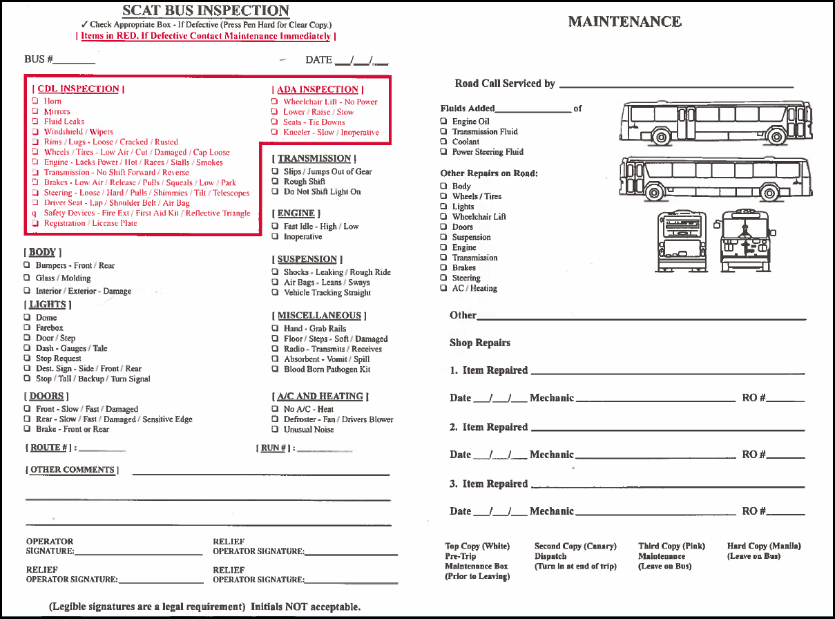 Pre And Post Trip Vehicle Inspection Forms
