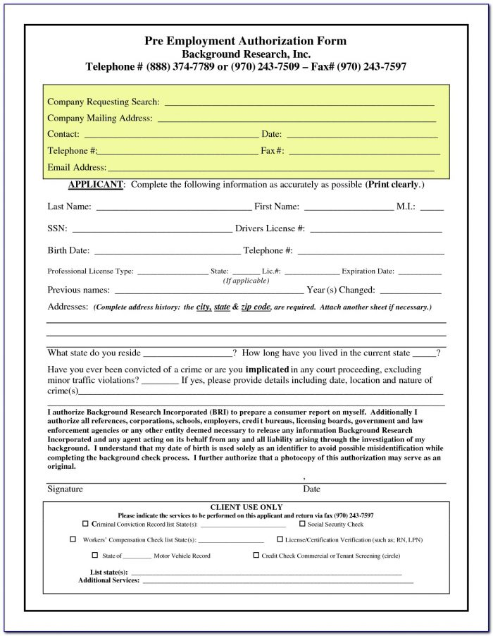 Pre Employment Background Check Authorization Form Philippines