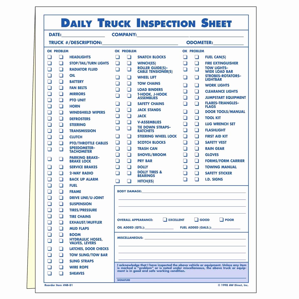 Pre Trip Vehicle Inspection Form Template Impressive Dot Pre Trip Inspection Checklist Fresh Daily Checklist Template