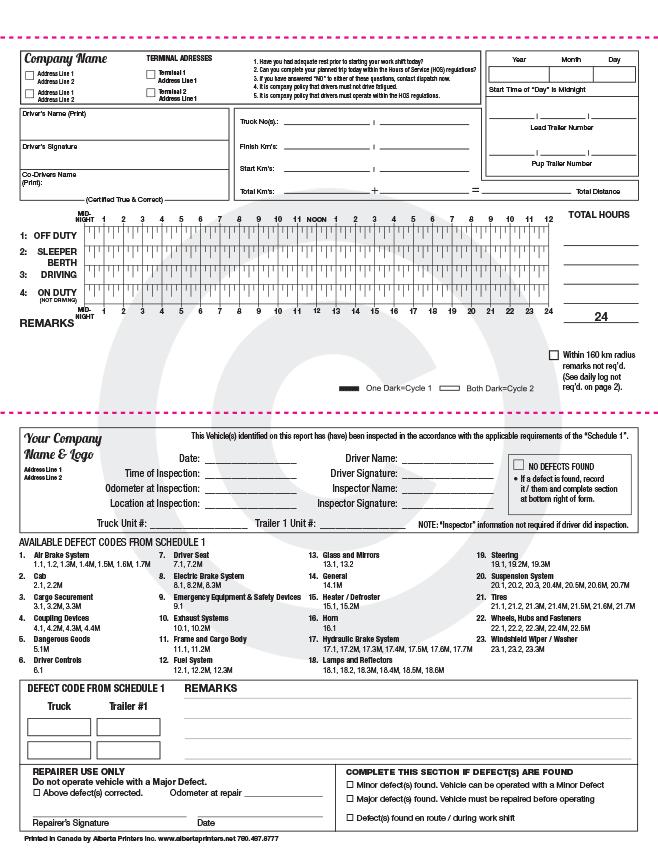 Pre Trip Inspection Sheet Alberta