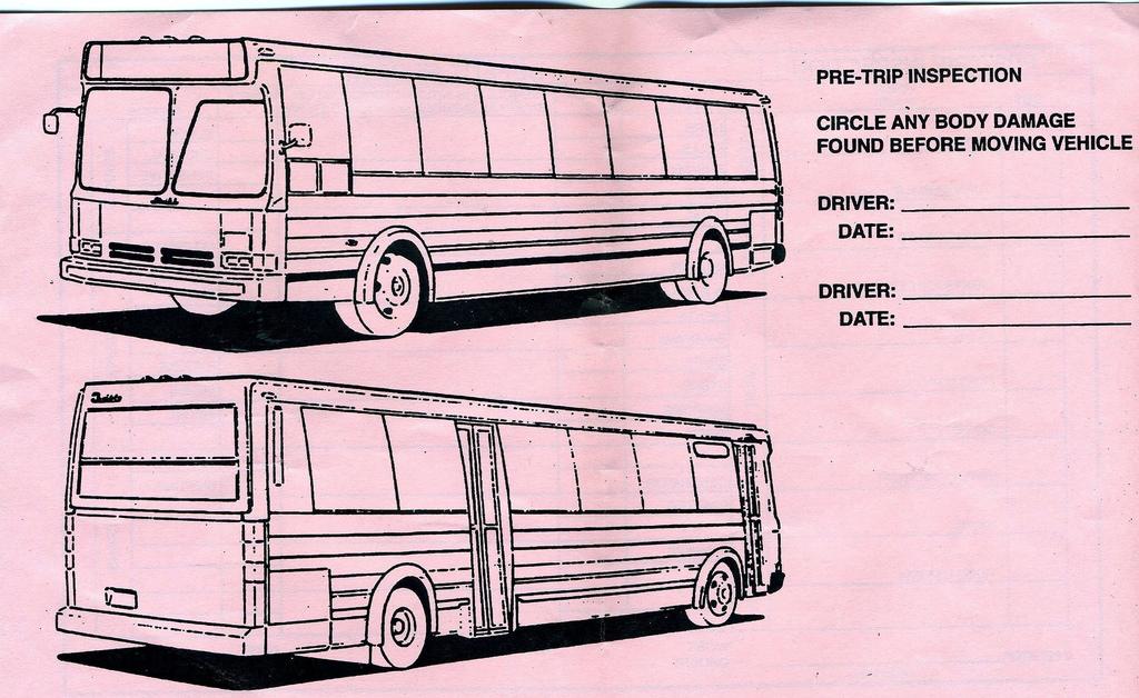 Pre Trip Inspection Sheet
