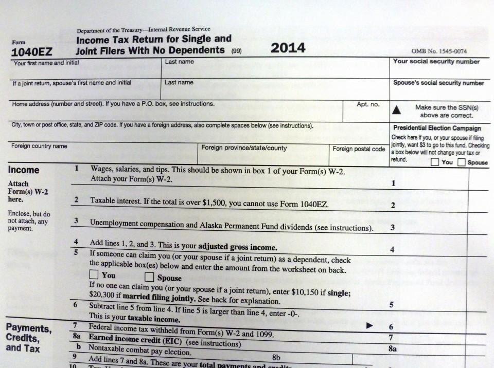 Print Federal Tax Form 1040ez