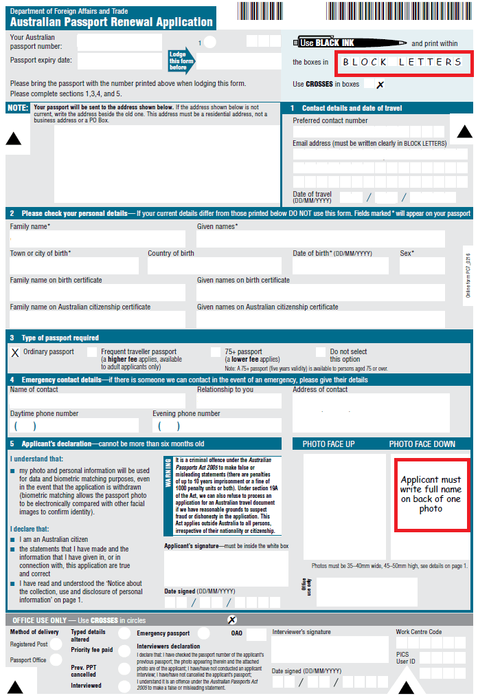 Print Passport Renewal Form Australia