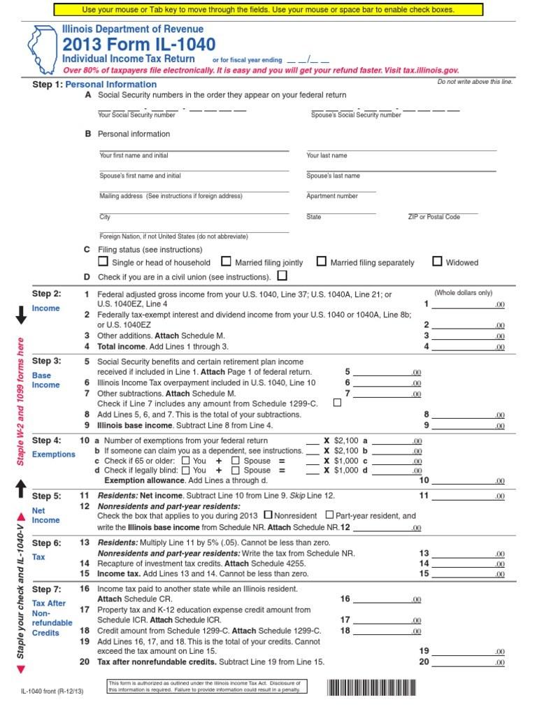 Printable 1040 Form 2013