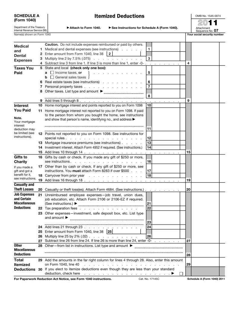 Printable 1040 Form For 2011