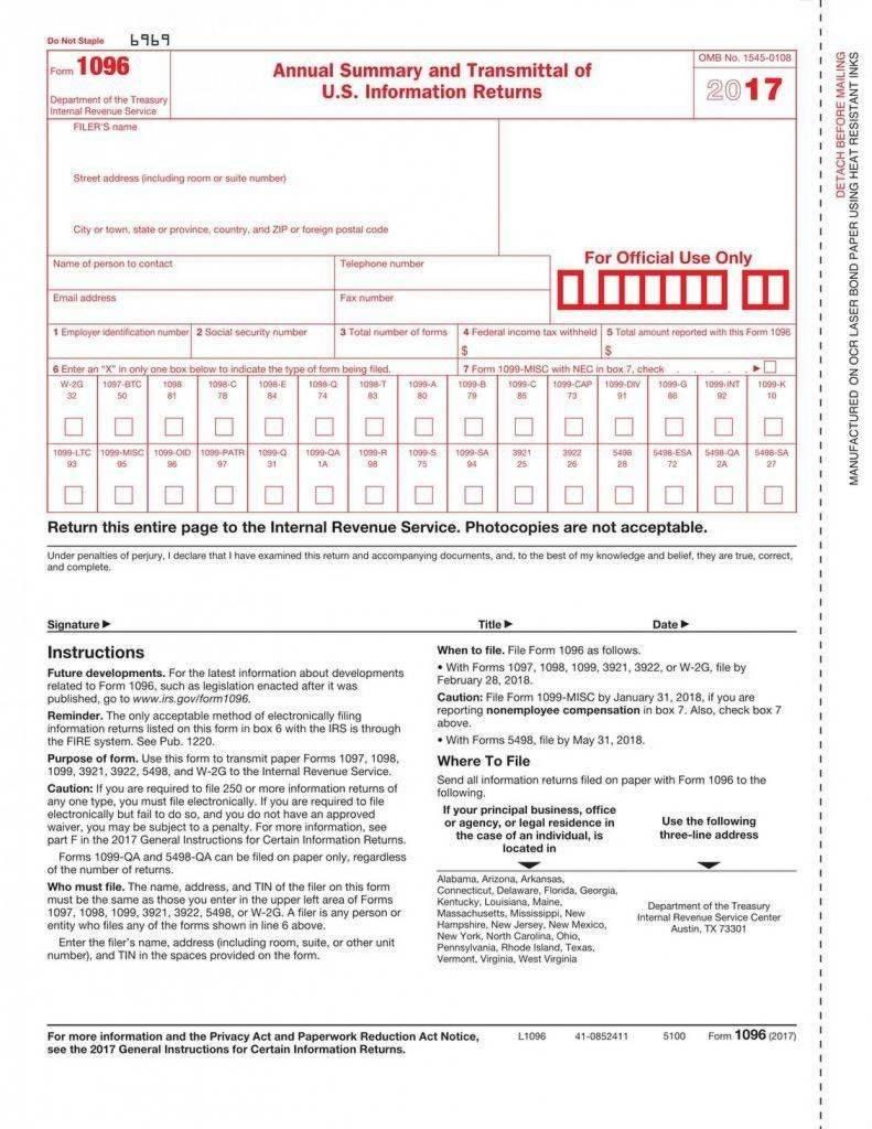 Printable 1096 Form 2017