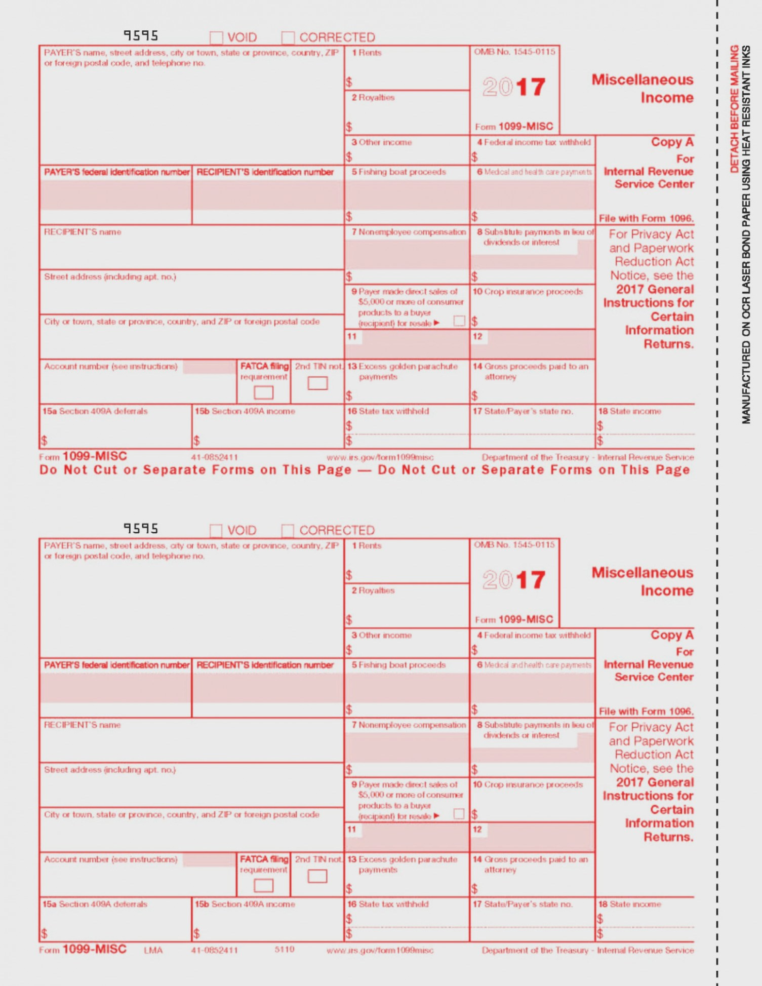 Printable 1099 Misc Form 2013