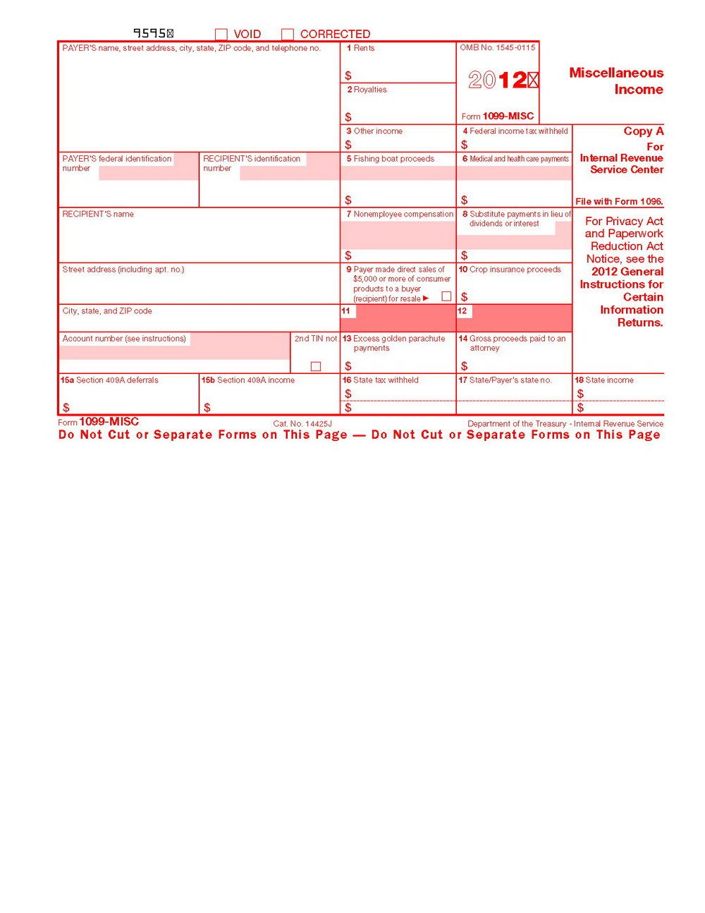 Printable 1099 Misc Form 2017 Irs