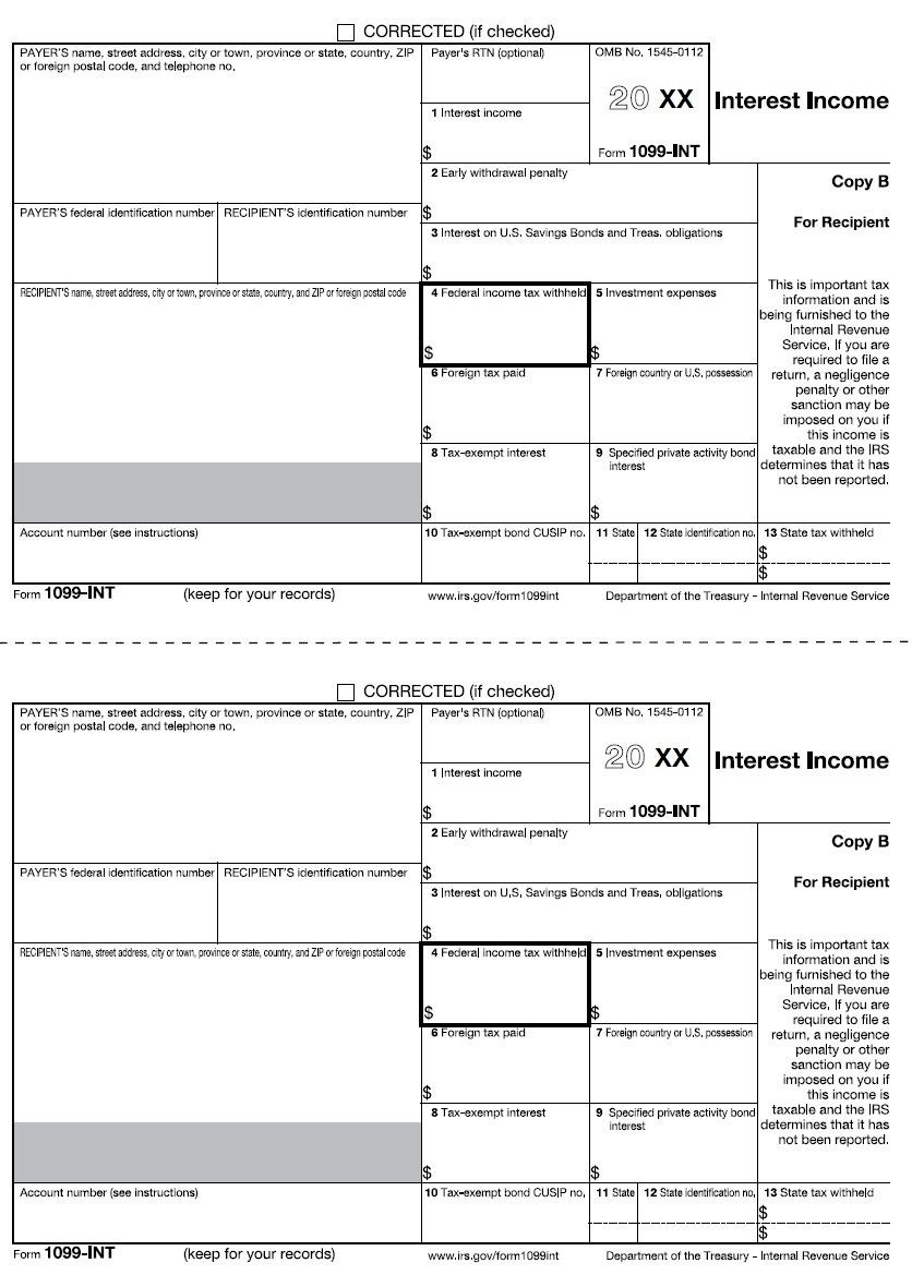 1099 Int Recipient Copy B Pertaining To Printable 1099 Form