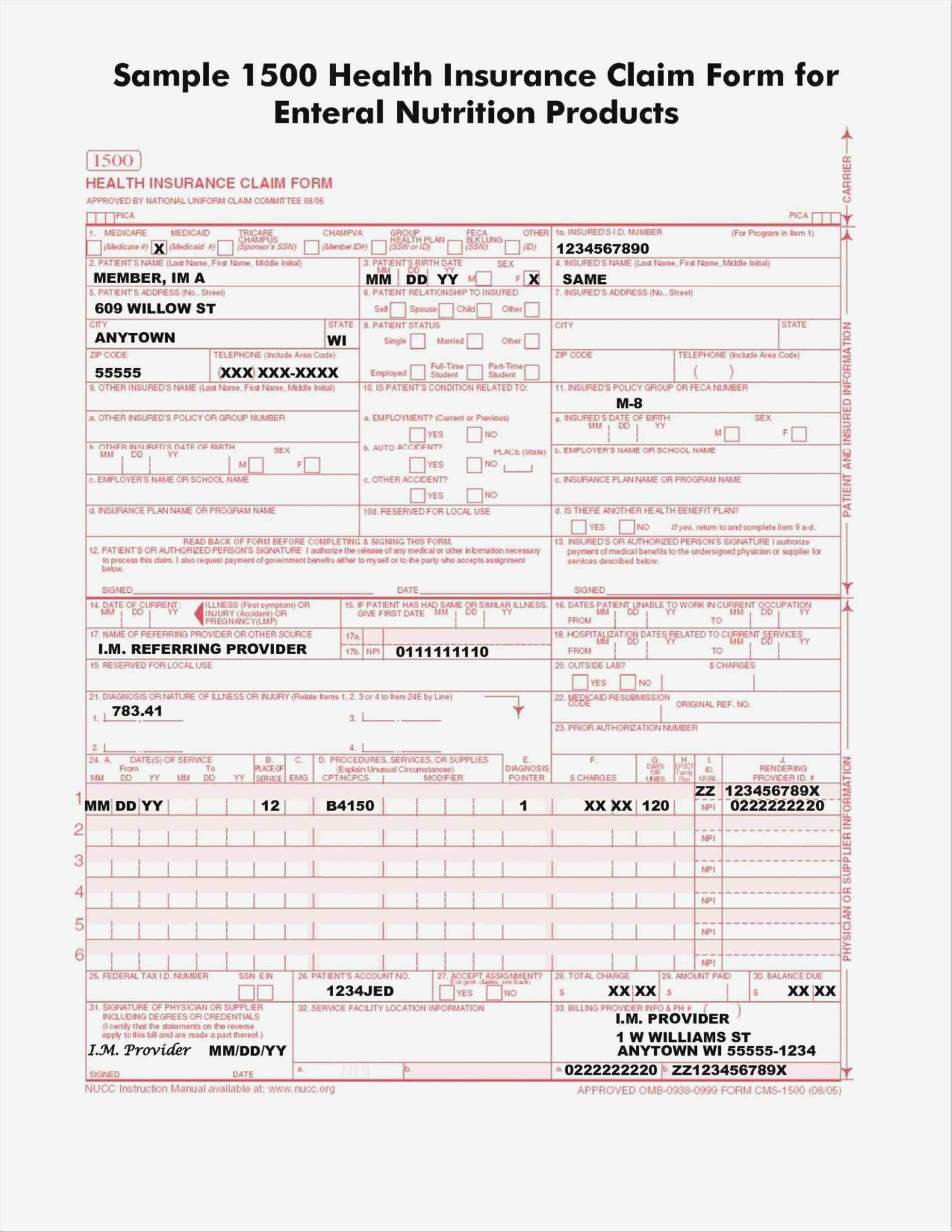 Printable 1500 Medical Claim Form
