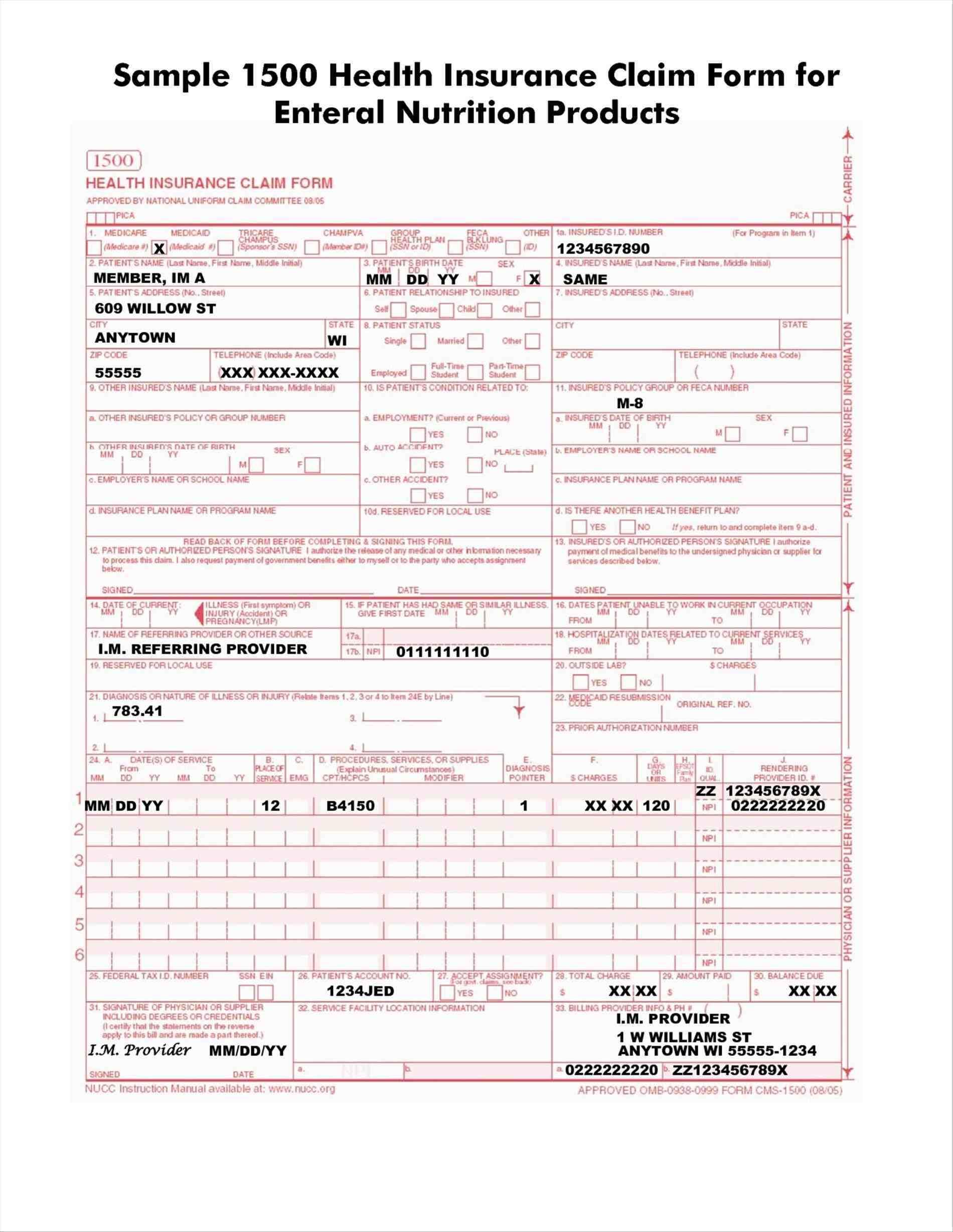 Printable Blank Cms 1500 Claim Form