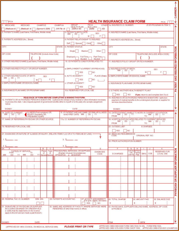 Printable Blank Hcfa 1500 Form