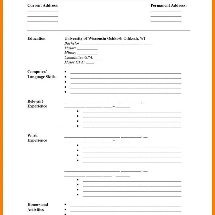 Printable Blank Resume Format