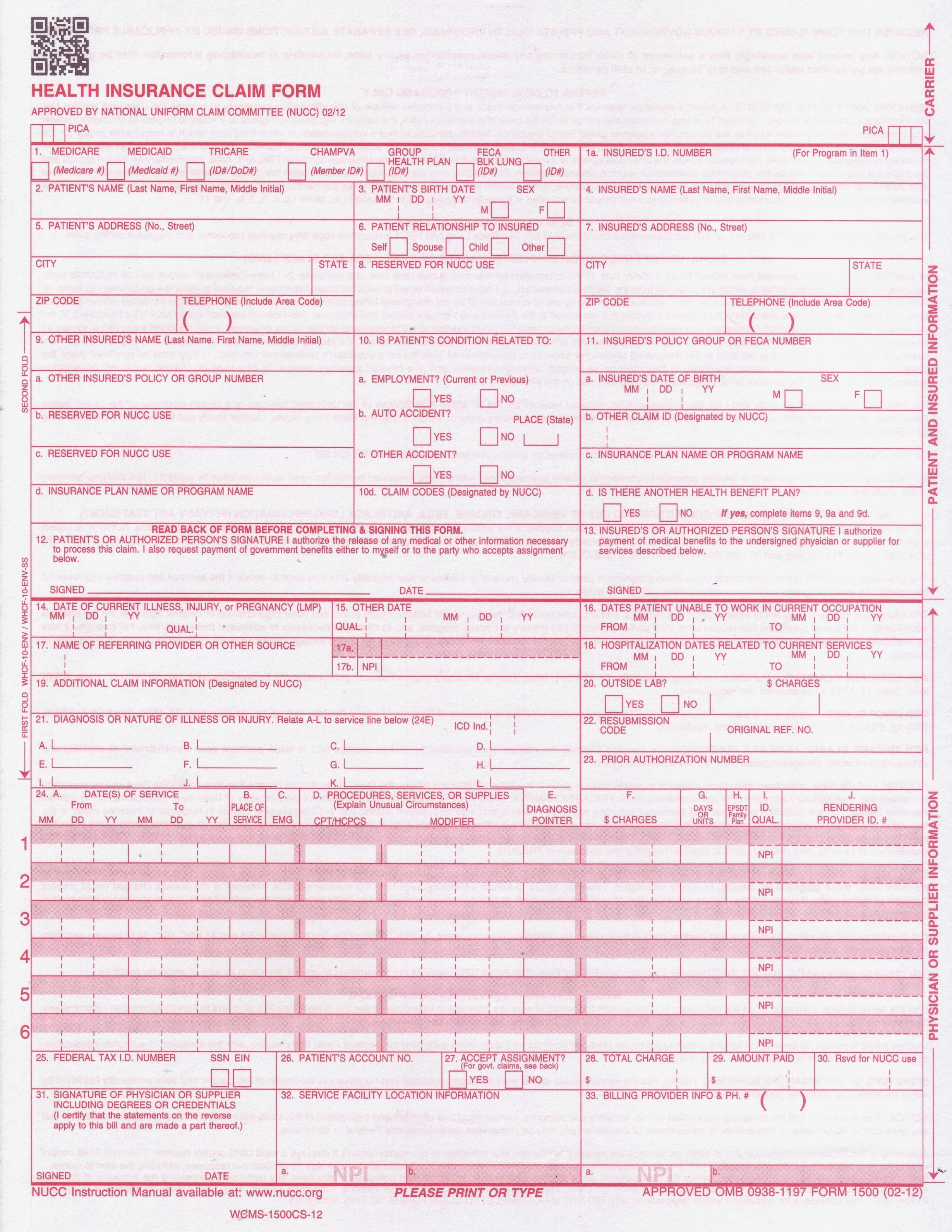Printable Cms 1500 Form Pdf