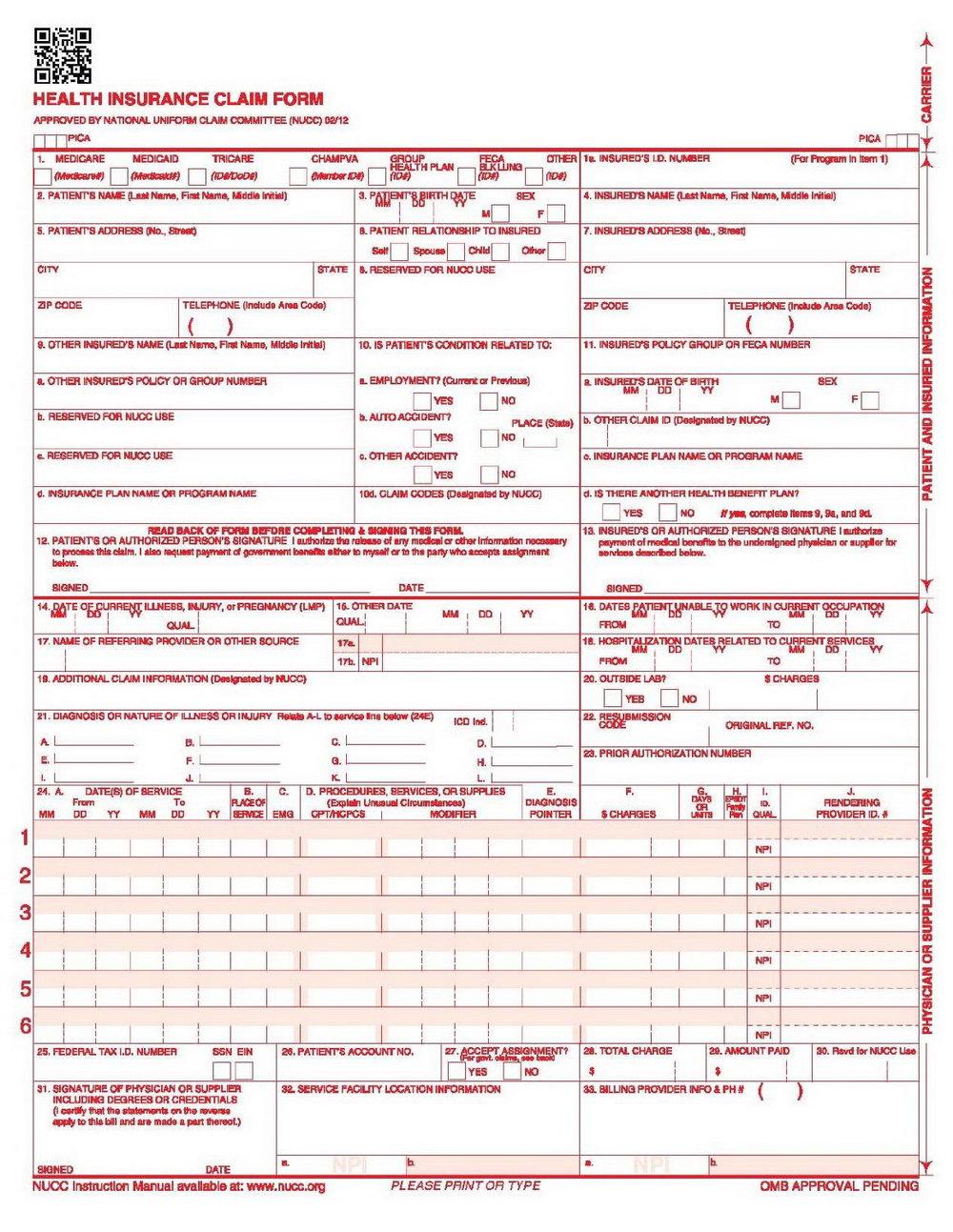 Printable Cms 1500 Forms