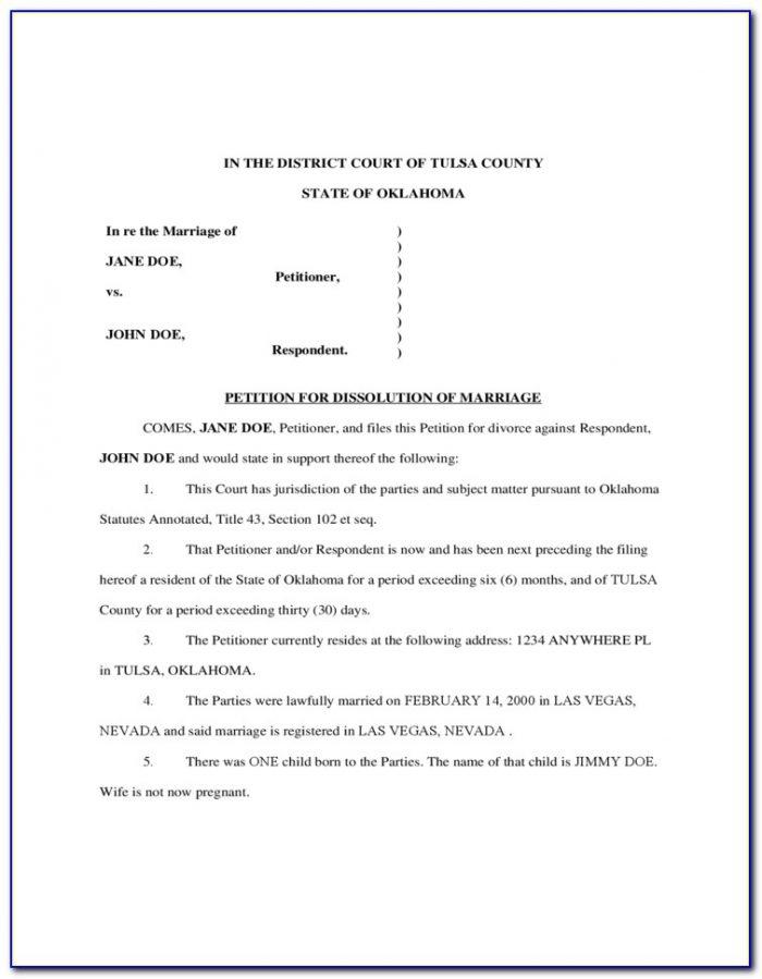 Printable Divorce Forms Oklahoma