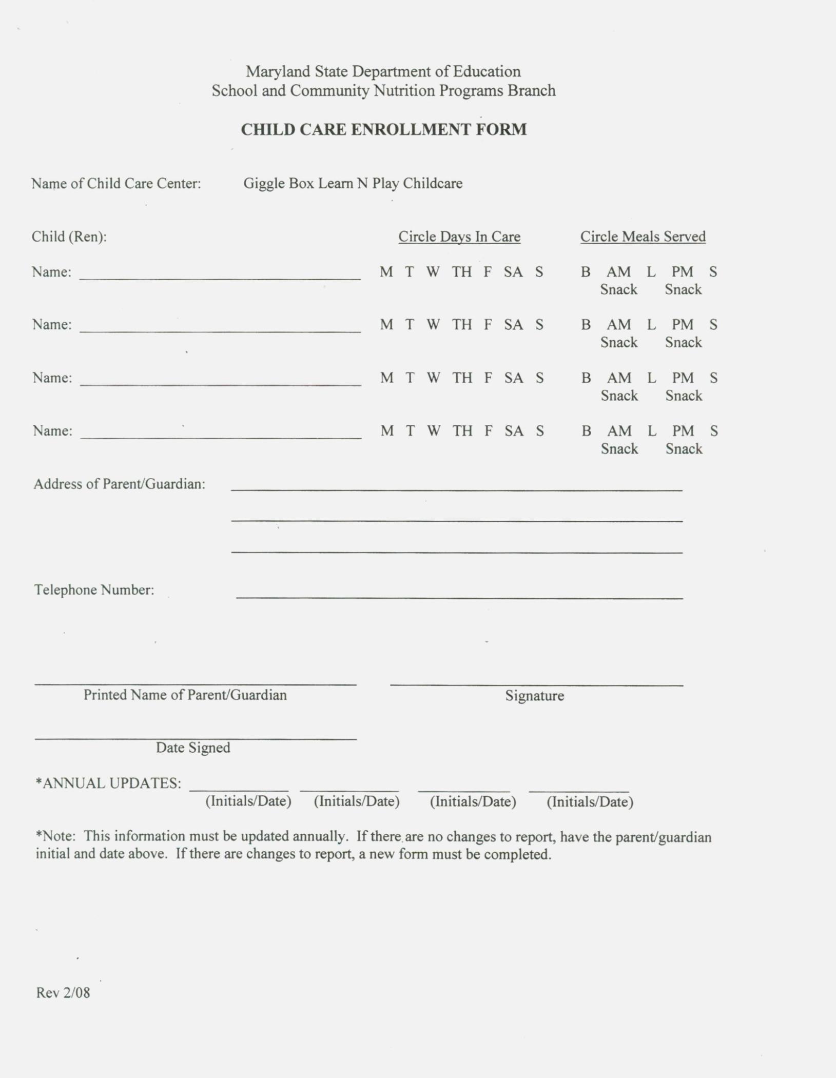 Printable Enrollment Forms For Daycare
