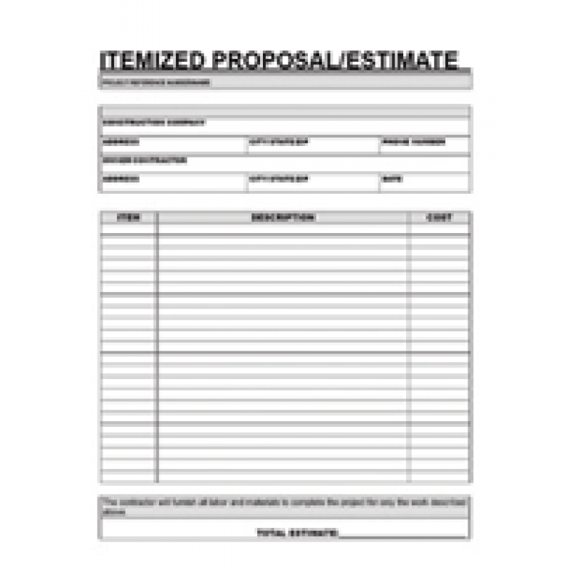 Printable Estimate Forms Free