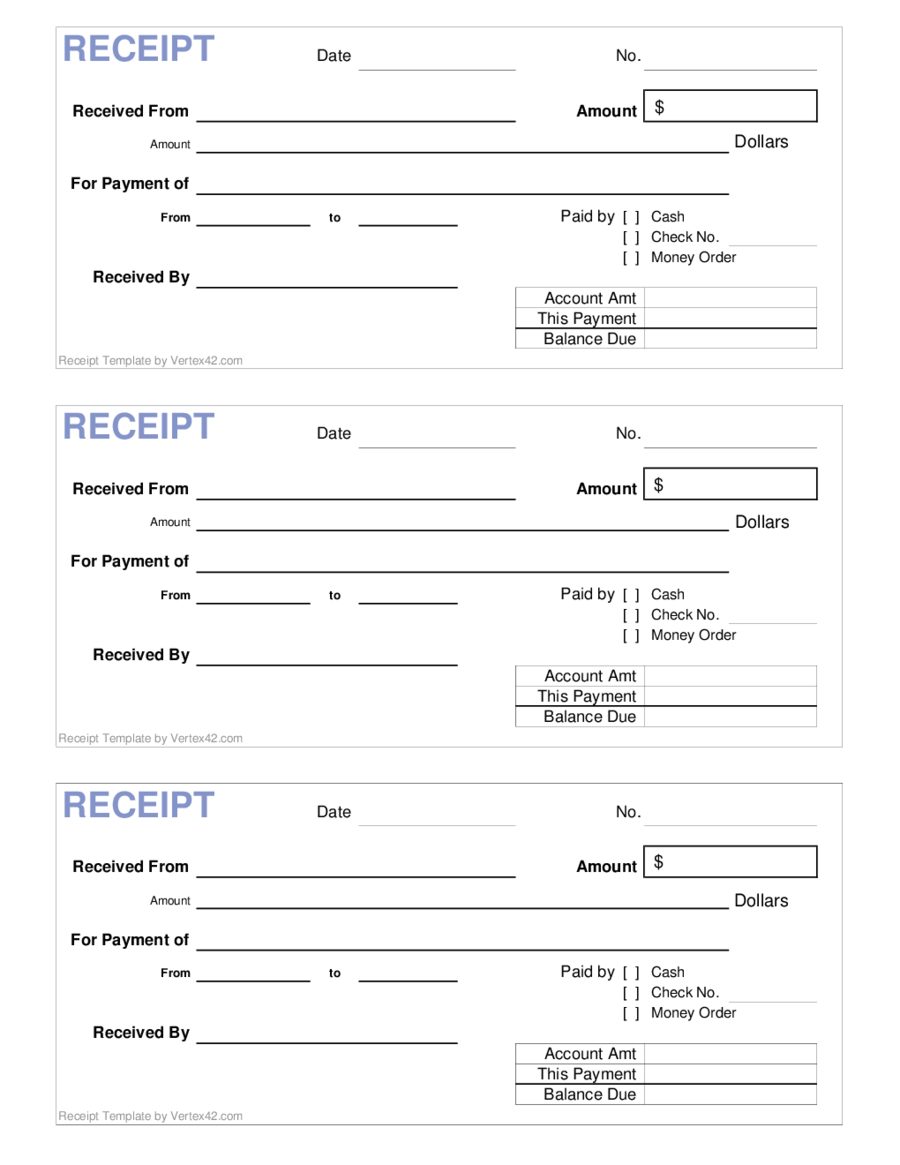 Printable Fillable Receipt