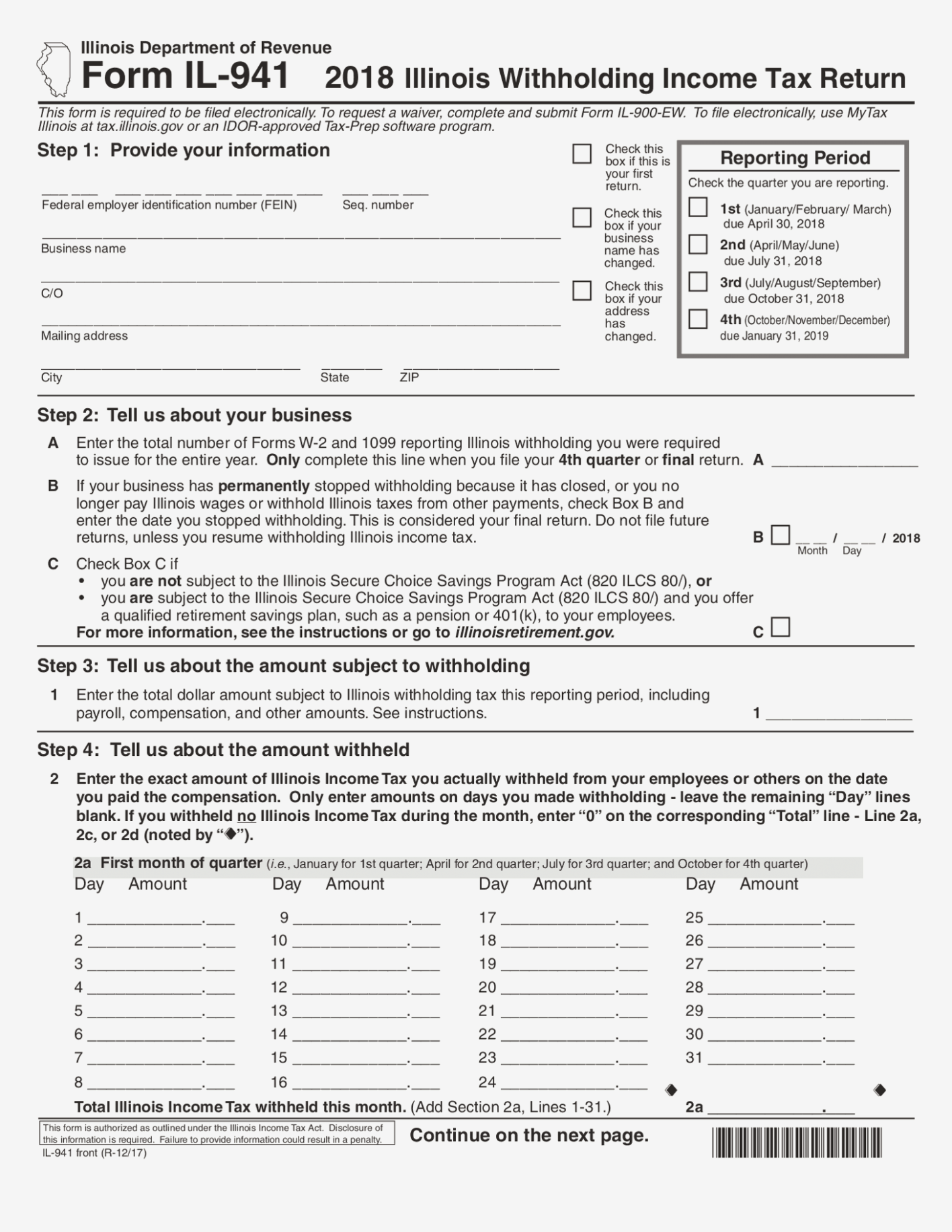 Printable Il 941 Form