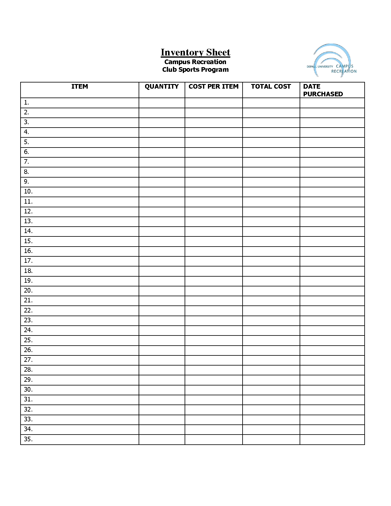 Printable Inventory Sheets Business