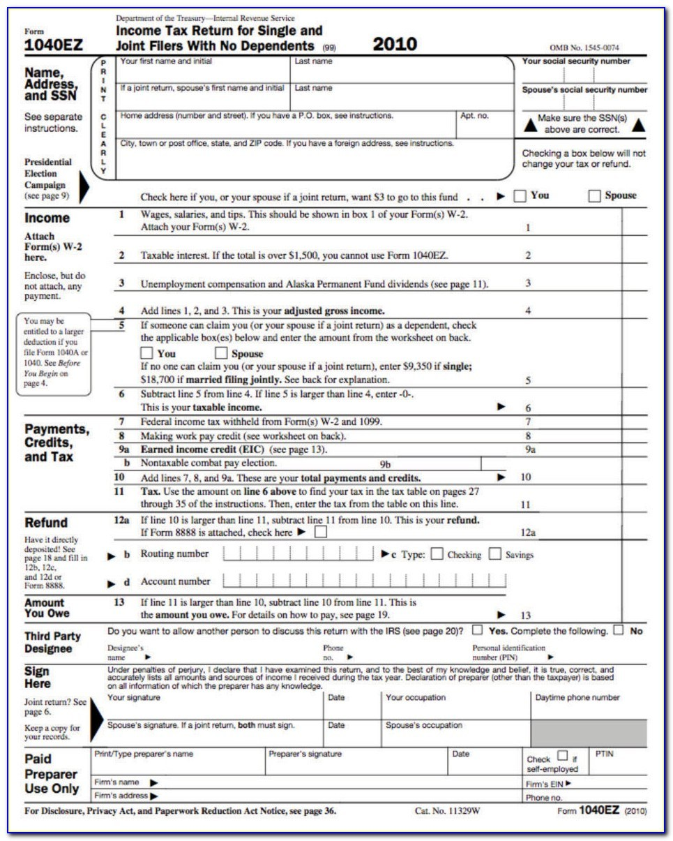 Printable Irs Form 1040ez 2013