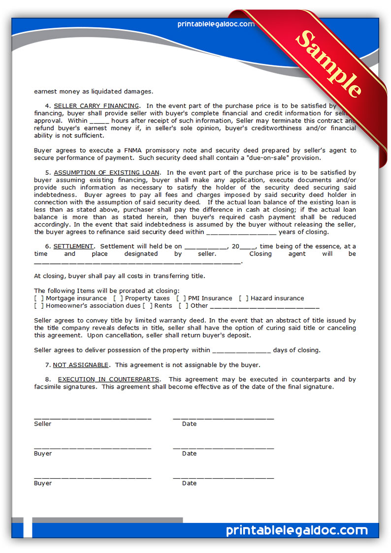 Printable Land Contract Form Free