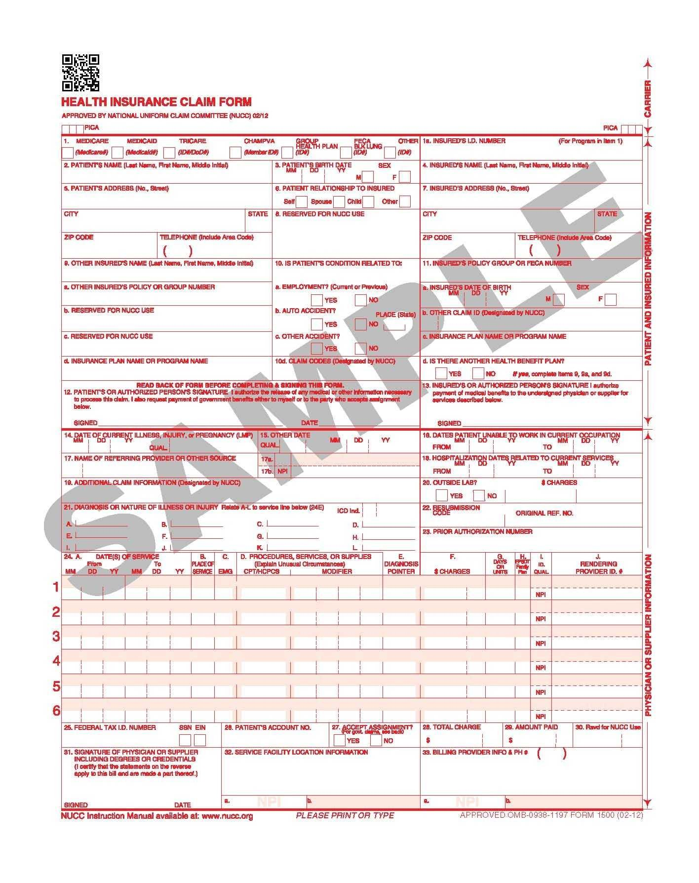 Printable Medical Claim Form Cms 1500 Sample Cms 1500 Form 02 12 As Well As 20 Unique 1500 Claim Form