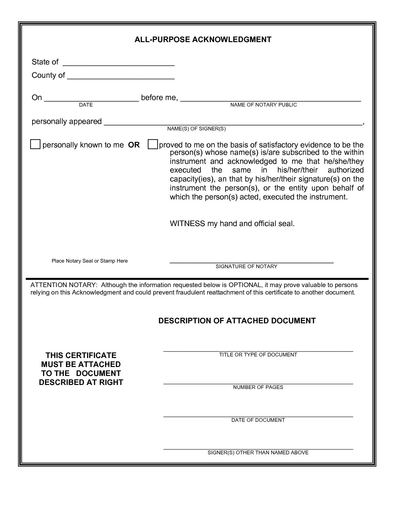 Printable Notary Forms Texas