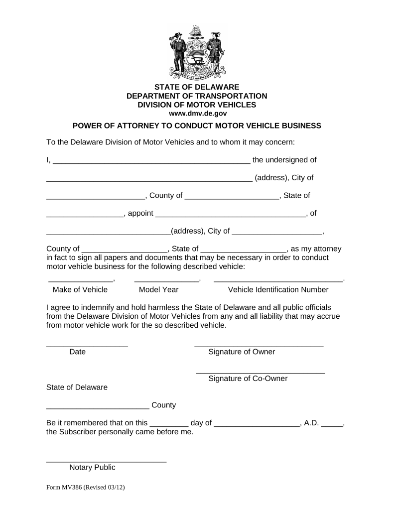 Printable Power Of Attorney Form Delaware