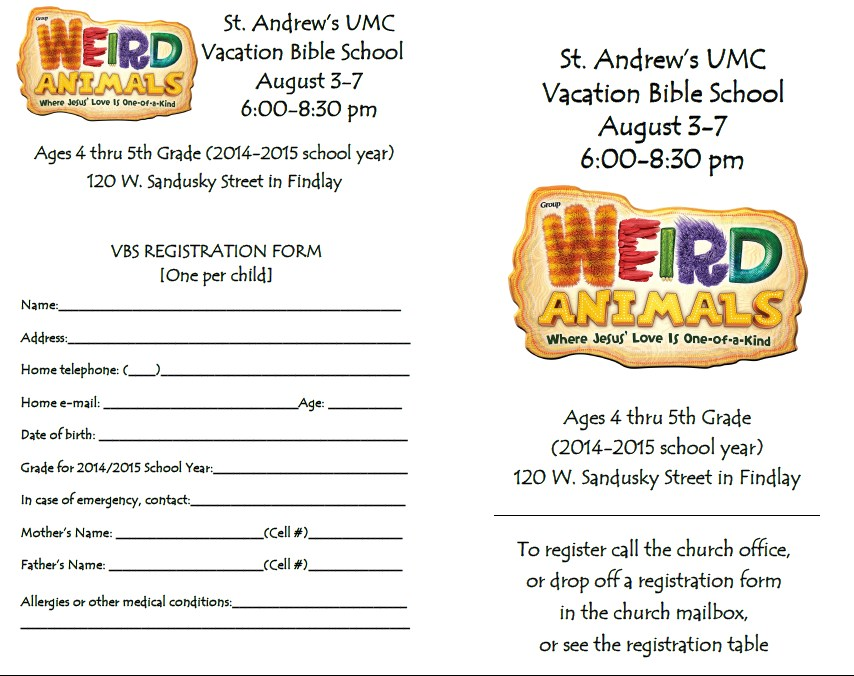 Printable Registration Forms For Vacation Bible School