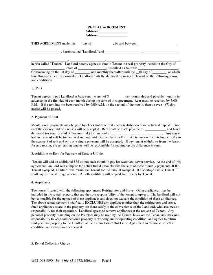 Printable Renters Agreement Form