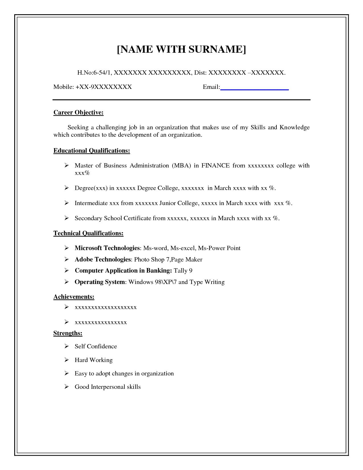 Printable Resume Examples