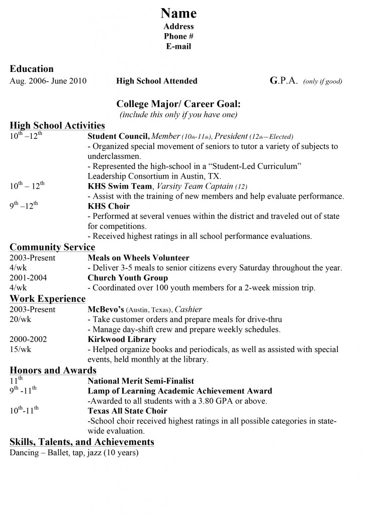 Printable Sample Resume For High School Student
