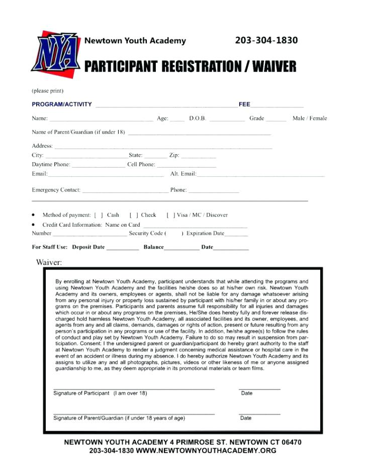 Printable Sports Registration Form Template