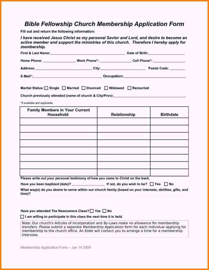 Printable Sunday School Registration Forms
