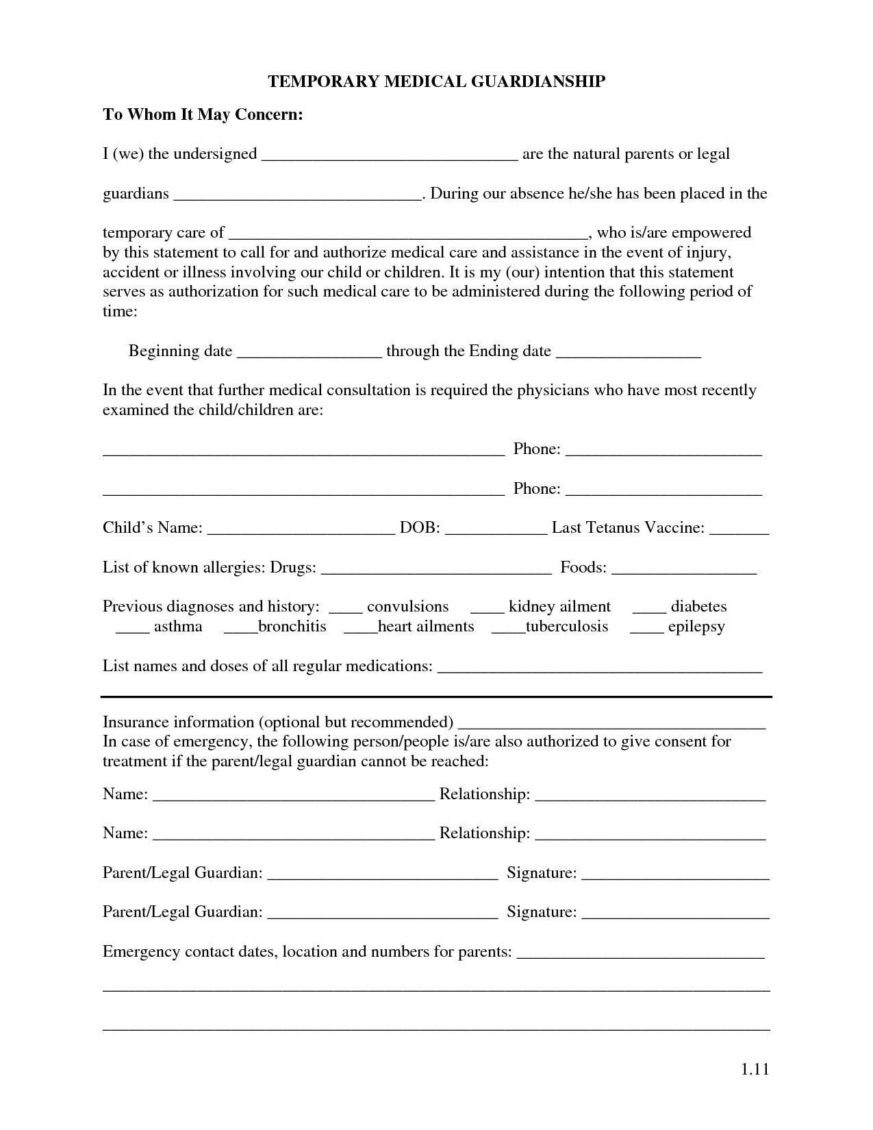 Printable Temporary Guardianship Forms