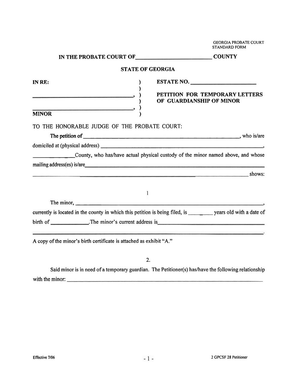 Probate And Family Court Guardianship Forms
