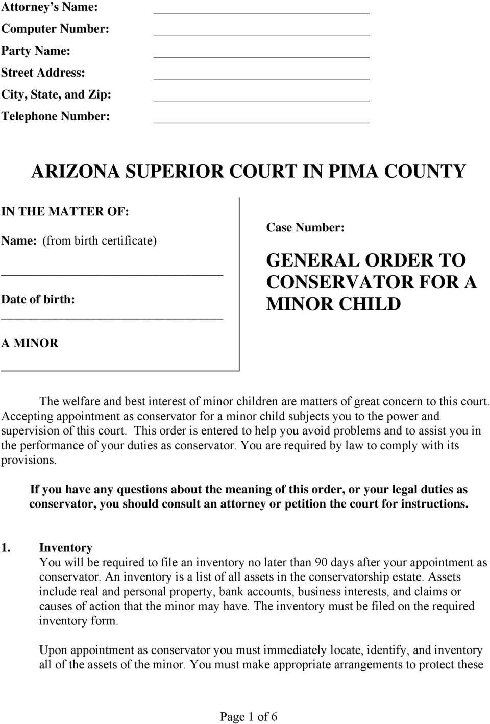 Probate Inventory Form Arizona