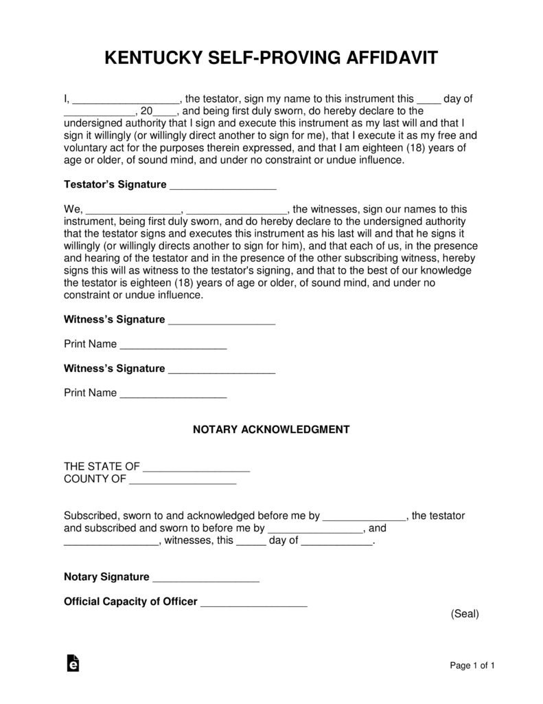 Kentucky Self Proving Affidavit Form | Eforms – Free Fillable Forms With Kentucky Probate Forms