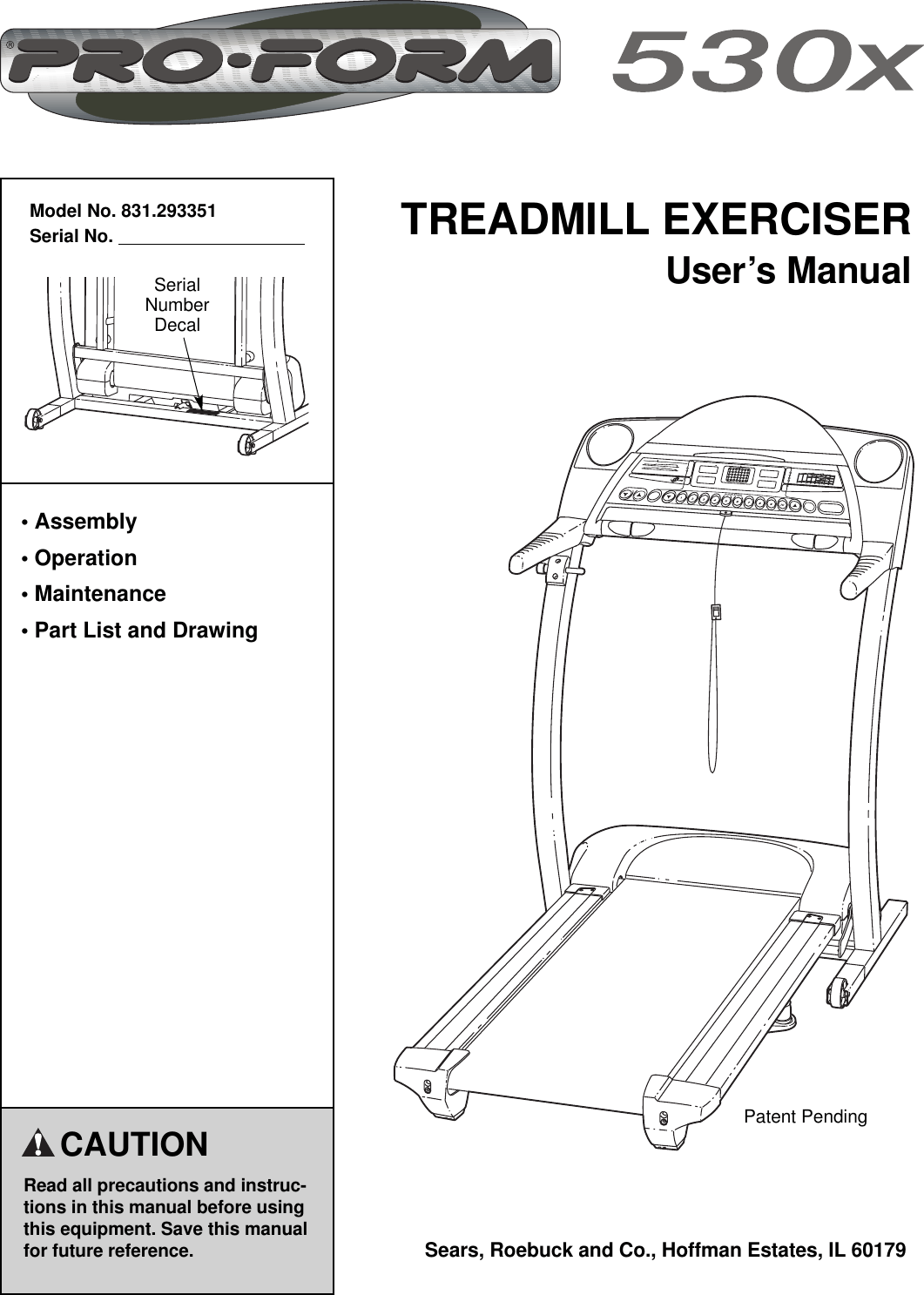 Proform 530x Treadmill Manual