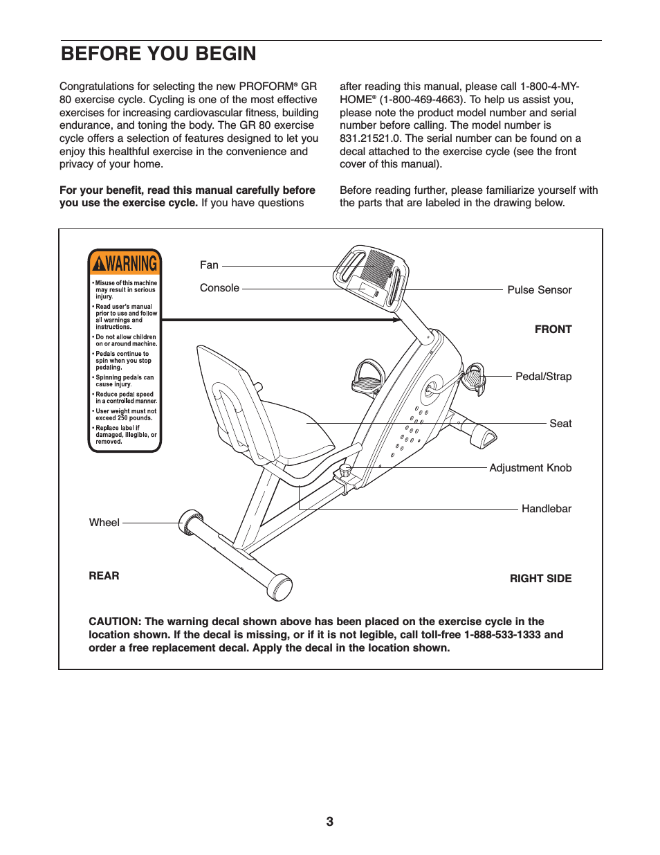 Proform Gr 80 Parts