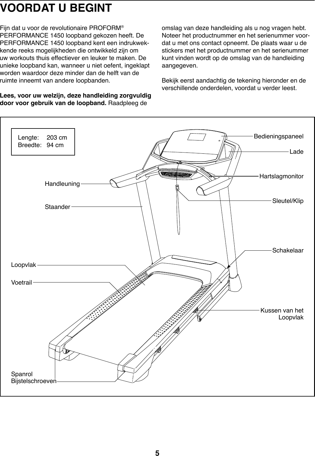 Proform Performance 1450 Treadmill Manual