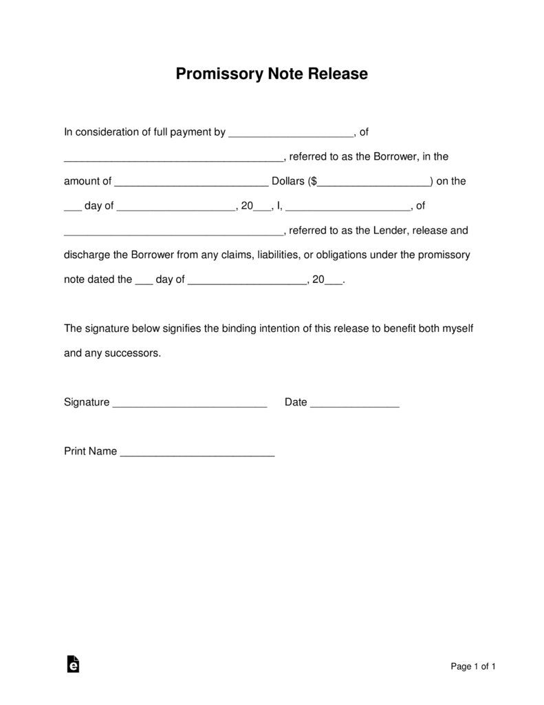 Promissory Note Form For Personal Loan