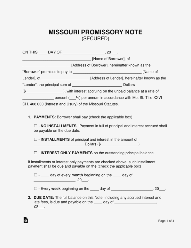 Promissory Note Form Free Pdf