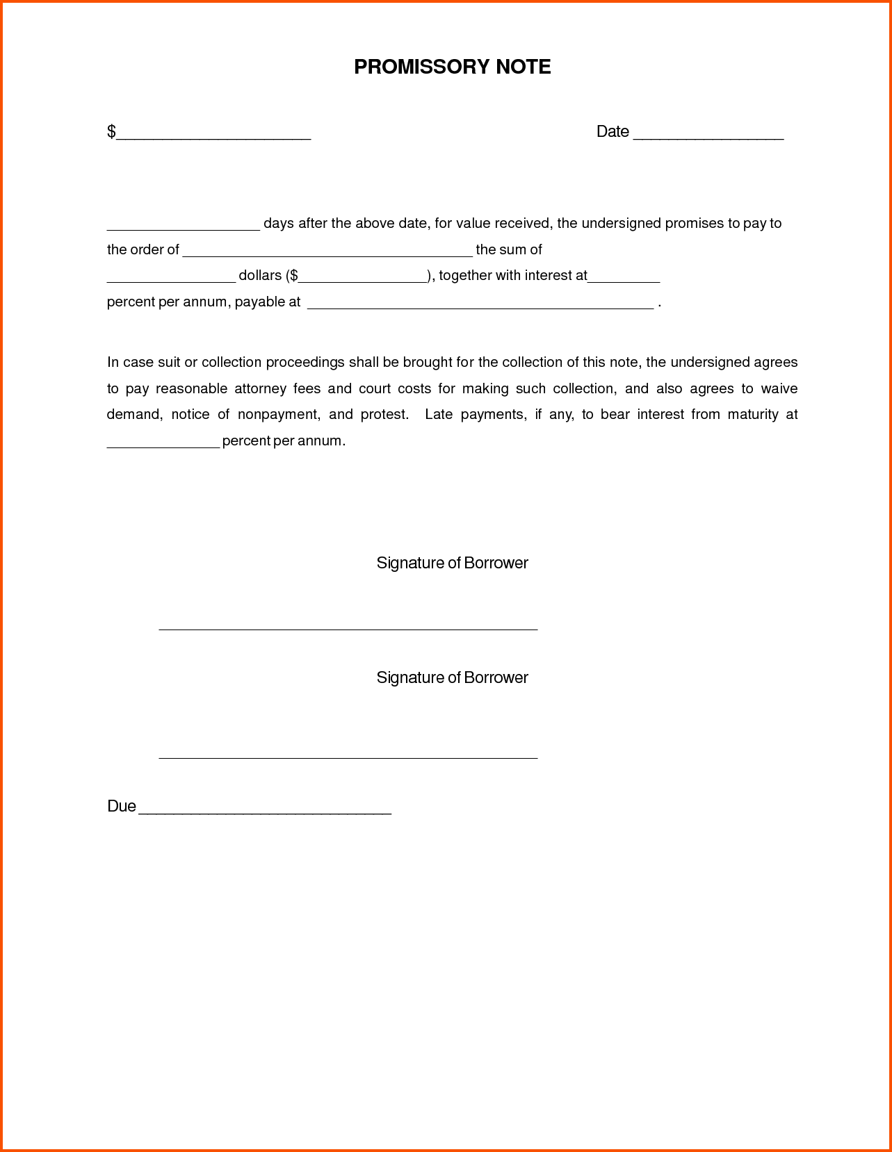 Promissory Note Sample Form Template