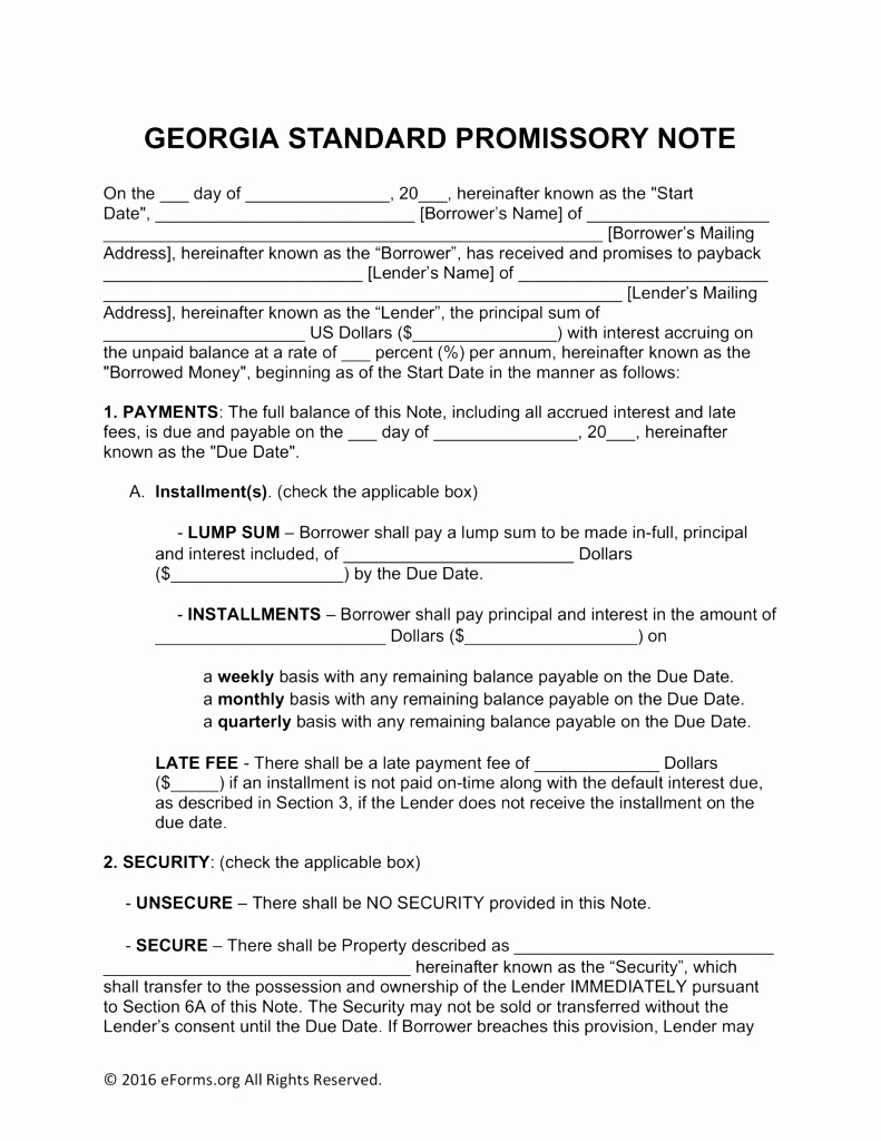 Secured Promissory Note Template Basic Unsecured Promissory Note Template Inspirational Unsecured