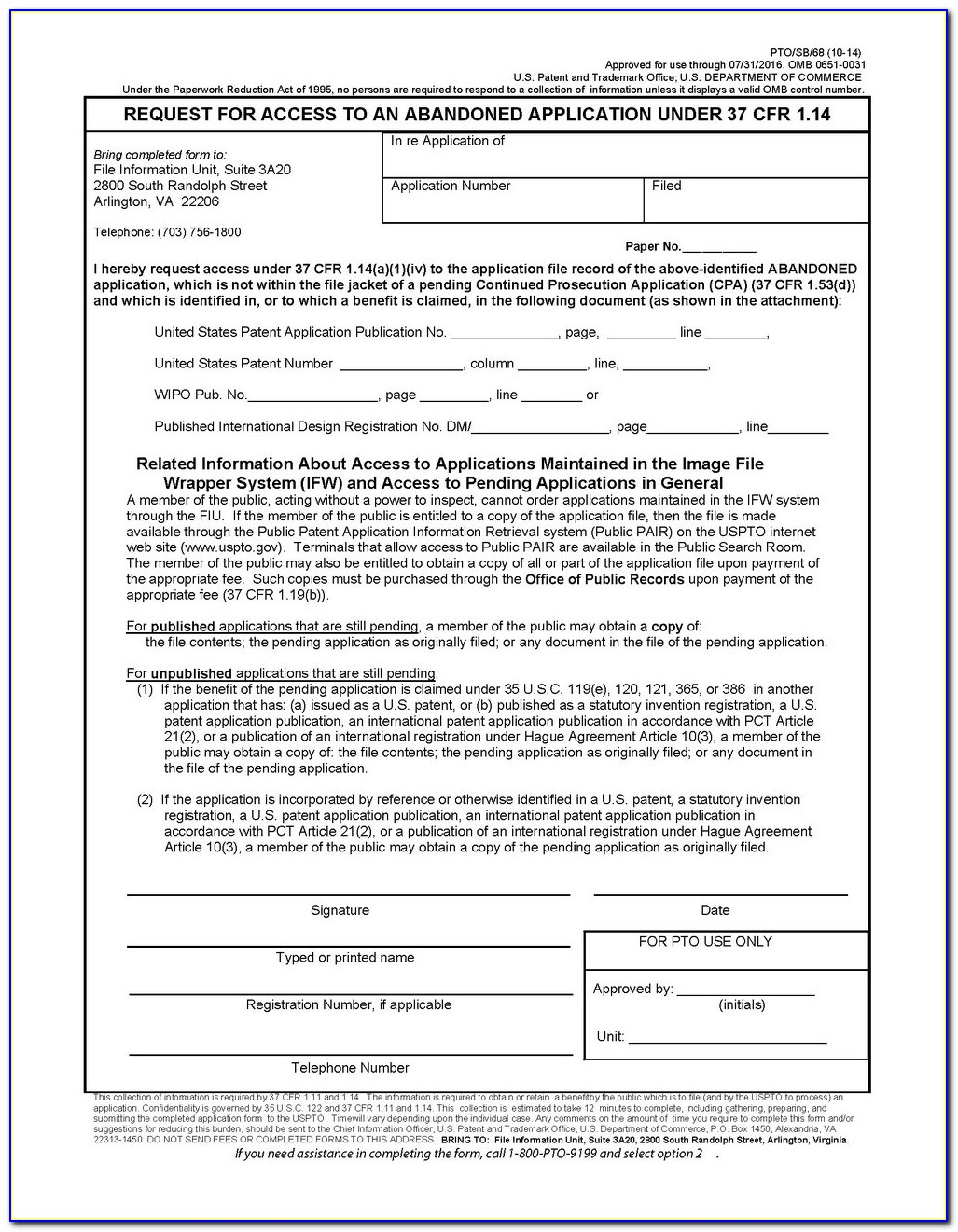 Provisional Patent Forms Application